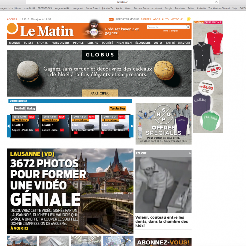 A la une - Le Matin Online - The Lausanne Experience - 01.12.2015